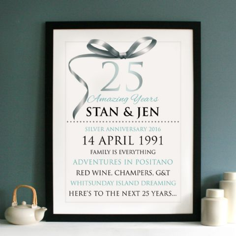 Personalised Silver Wedding Anniversary Typography